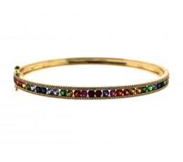 Rainbow Sapphire, Tsavorite & Diamond Channel Bangle