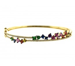 Rainbow Sapphire, Tsavorite & Diamond 2 Row Bangle