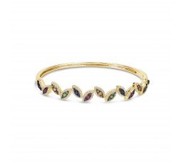 Rainbow Sapphire & Diamond Bangle