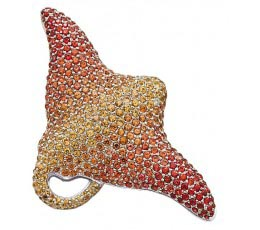 Micro-Pave Shades of Orange Sapphire & Diamond Broach