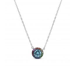 Blue Zircon & Rainbow Sapphire Pendant Necklace