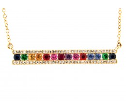Rainbow Sapphire Tsavorite & Diamond Bar Necklace