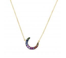 Rainbow Sapphire Moon Pendant Necklace