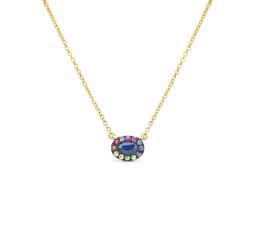 Sapphire & Rainbow Pendant Necklace