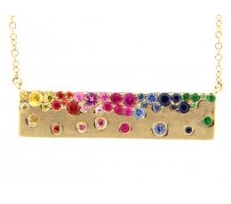 Rainbow Sapphire & Tsavorite Flush set Bar Necklace