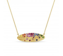 Rainbow Sapphire Oval Pendant Necklace