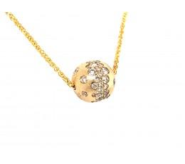 Diamond Flush Set Ball Slide Necklace