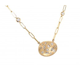 Diamond Baguette Marquis Round Flush Scattered Necklace