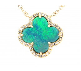Black Opal Clover & Diamond Necklace