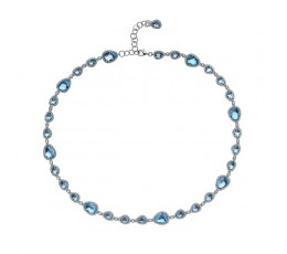 Swiss Blue Topaz & Diamond Necklace
