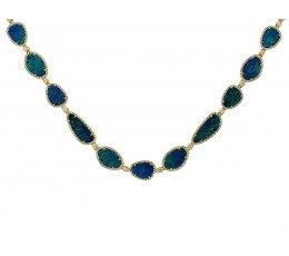 Black Opal Doublet & Diamond Necklace