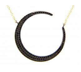 Black Diamond Crescent Moon Necklace