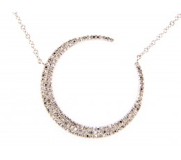 Crescent Moon Diamond Necklace