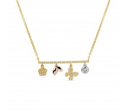 Diamond Charm Bar Pendant Necklace