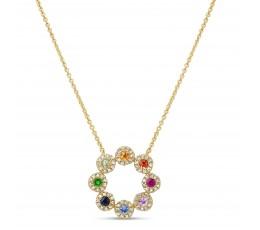 Rainbow Sapphire & Diamond Pendant Necklace