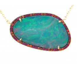 Black Opal Doublet Necklace with Orange, Blue Sapphires & Ruby Halo