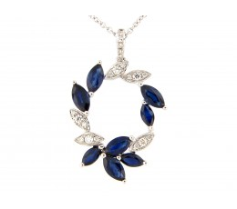 Sapphire & Diamond Wreath Pendant