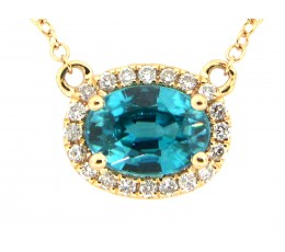Blue Zircon & Diamond Pendant Necklace