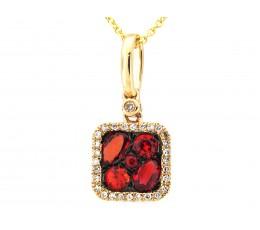 Orange Sapphire & Diamond Pendant