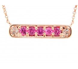 Pink Sapphire & Diamond Pendant Necklace
