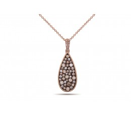 Brown & White Diamond Tear Drop Pendant