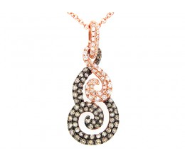 Brown & White Diamond Pave Swirl Pendant