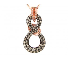 Brown & White Diamond Twist Pendant