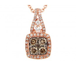 Brown & White Diamond Square Cluster Pendant