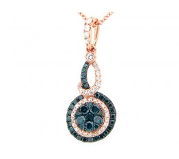 Irradiated Blue & White Diamond Pendant