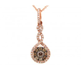 Brown & White Diamond Twist Round Pendant