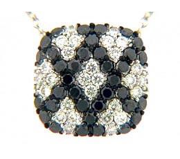 Micro Pave Black & White Diamond Pendant