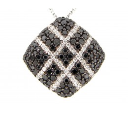 Black & White Diamond Pave Cross Hash Cushion Pendant