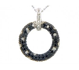 Black & White Diamond Pave Circle Pendant