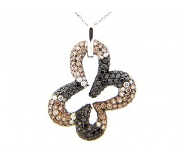 Black Brown & White Diamond Pave Open Clover Pendant