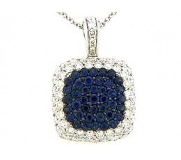 Sapphire & Diamond Pave Cushion Pendant