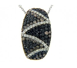 Black Brown & White Diamond Zig Zag Pave Pendant
