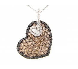 Brown Black & White Diamond Heart Pendant