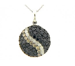 Black Brown & White Diamond Pave Stripe Round Pendant