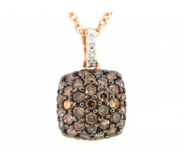 Brown & White Diamond Pave Cushion Pendant