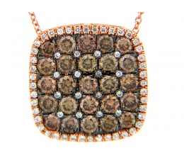 Brown & White Diamond Cushioin Pendant