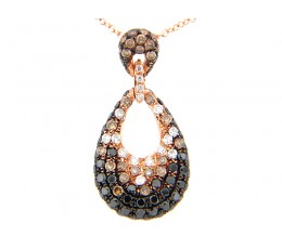 Black Brown & White Diamond Pave Pear Pendant