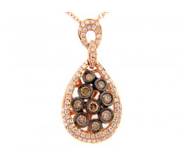 Brown & White Diamond Bezel Cluster Pear Pendant