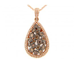 Brown & White Diamond Bezel cluster pear shape pendant