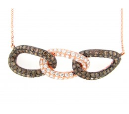 Brown & White Diamond Pendant Necklace