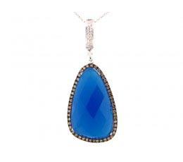 Blue Agate, Brown & White Diamond Pendant