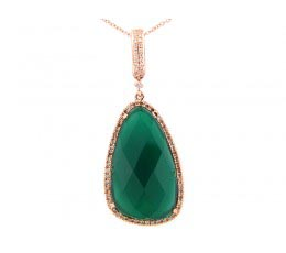 Green Agate, Brown & White Diamond Pendant