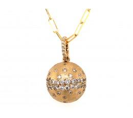 Diamond Flush Set Ball Pendant Paperclip Chain