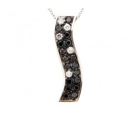 Black & White Diamond Wavy Bar Pendant