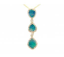 Black Opal & Diamond Pendant