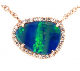Black Opal & Diamond Necklace